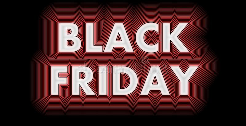 Black Friday sign in white glossy. Black Friday after Thanksgiving sign in red and white strips stock illustration