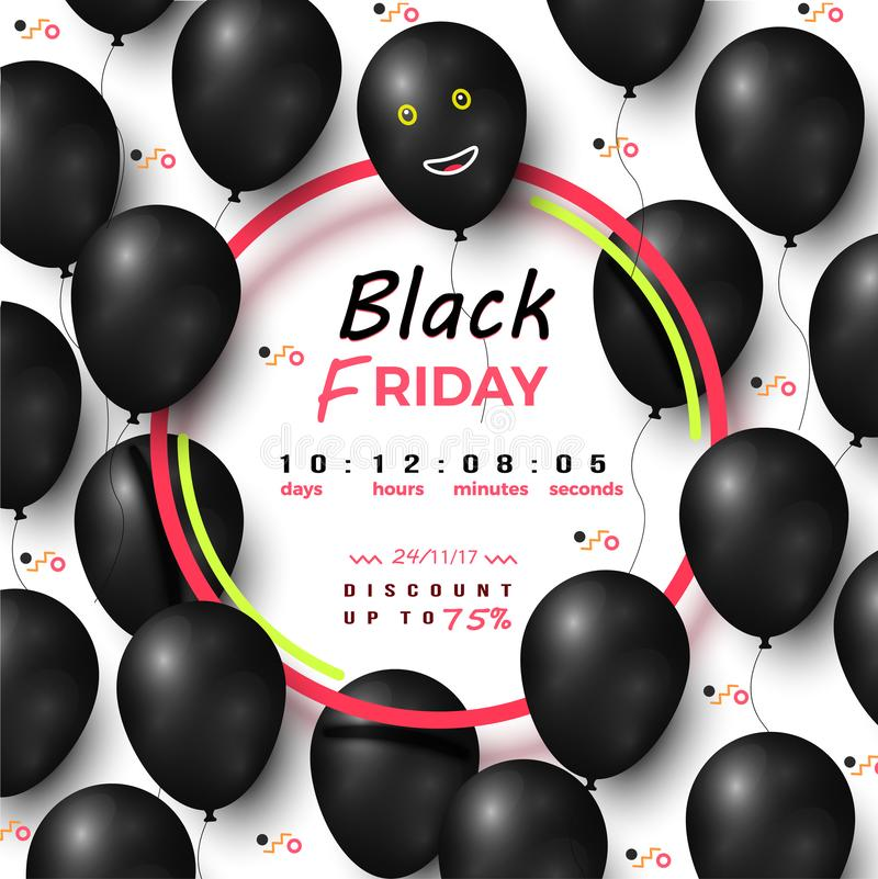 Black Friday Timer Discount Up to 75 Percents vector illustration