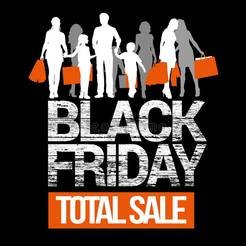 Black Friday total sales. People with shopping bags silhouettes. royalty free stock photo