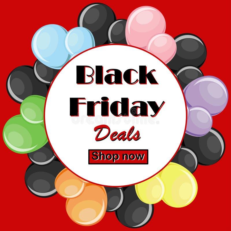 Black Friday trata o conceito os balões coloridos e o quadro branco redondo ilustração royalty free