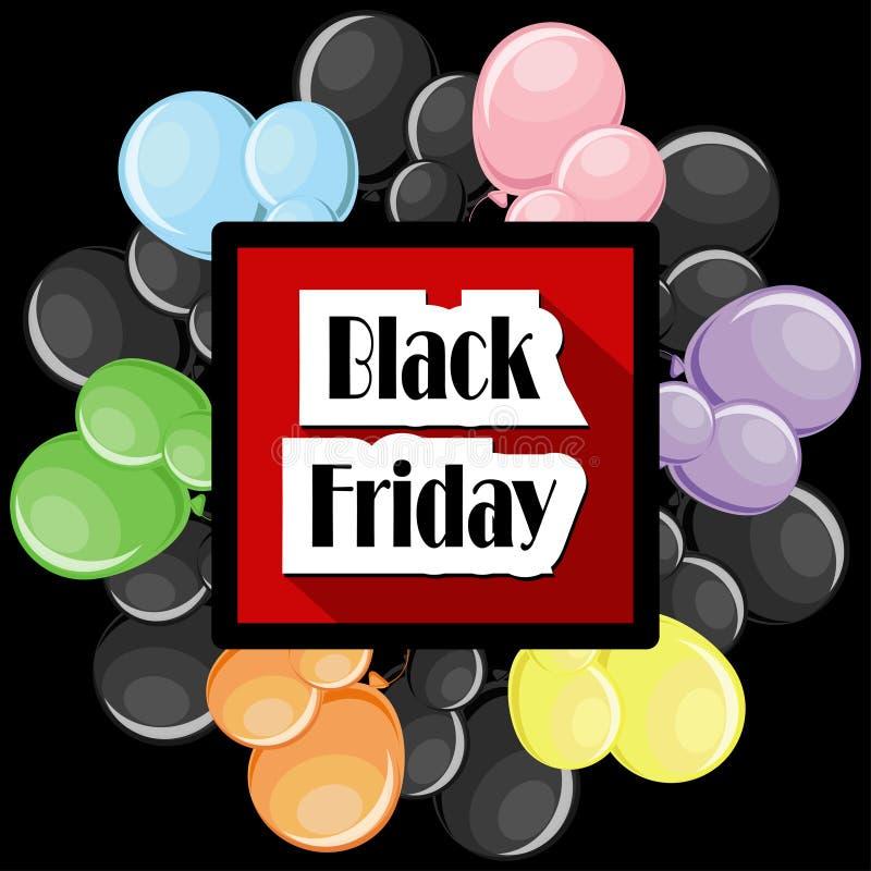 Black Friday trata o conceito os balões coloridos e o quadro preto do quadrado ilustração royalty free
