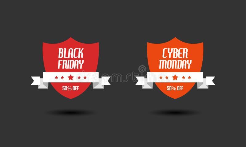 Black Friday u. Cyber-Montag-Verkaufszeichendesignschablonen lizenzfreie stockfotos