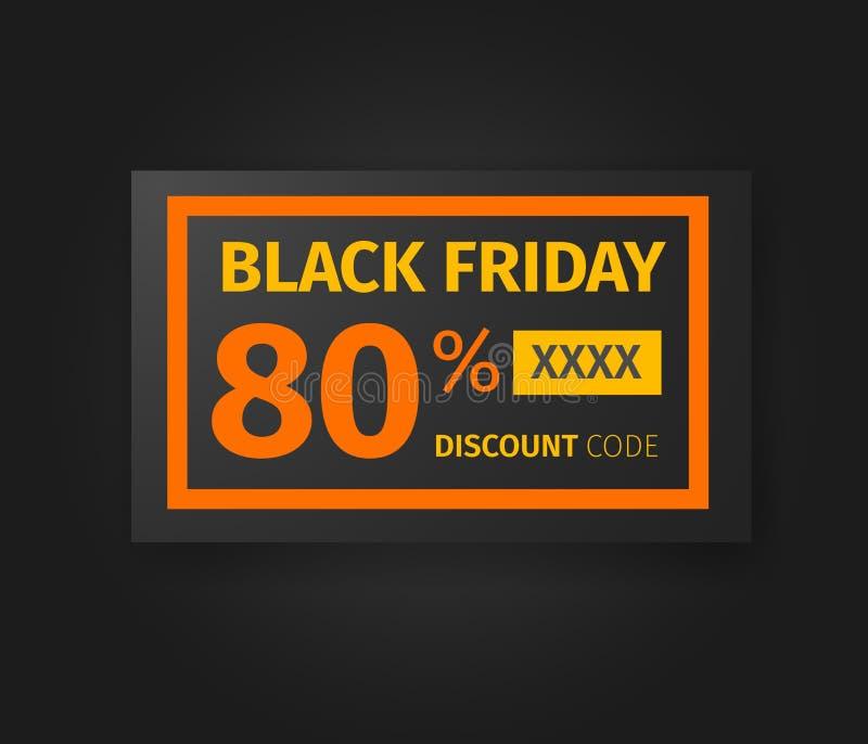 Black Friday vale del descuento del 80 por ciento ilustración del vector