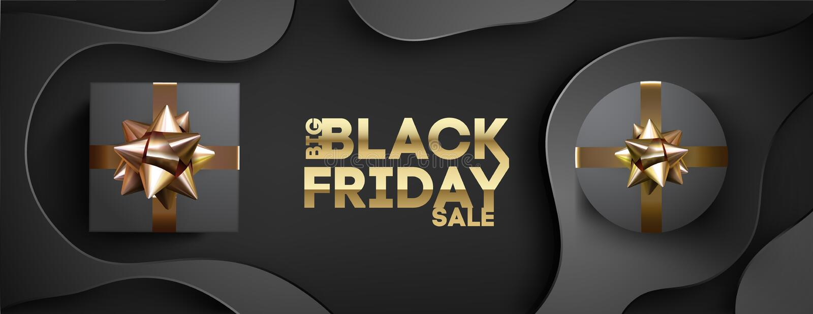 Black friday banner with black giftbox decorated with golden ribbon on black background. royalty free stock photo