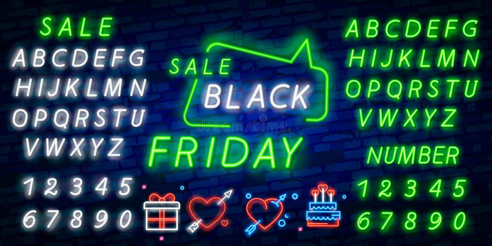 Black Friday vector isolated, poster banner in neon style. Bright sign sales Black Friday discounts. Editing text neon sign. Neon. Black Friday vector isolated royalty free stock images