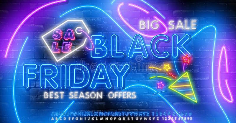 Black Friday vector isolated, poster banner in neon style. Bright sign sales Black Friday discounts. Editing text neon sign. Neon. Black Friday vector isolated vector illustration