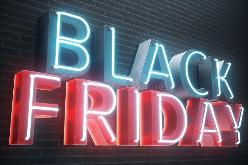 Black Friday - vendredi avec une grande vente Ventes, joie, succès Bannière au néon de lueur bleue et rouge, remises illustration illustration stock