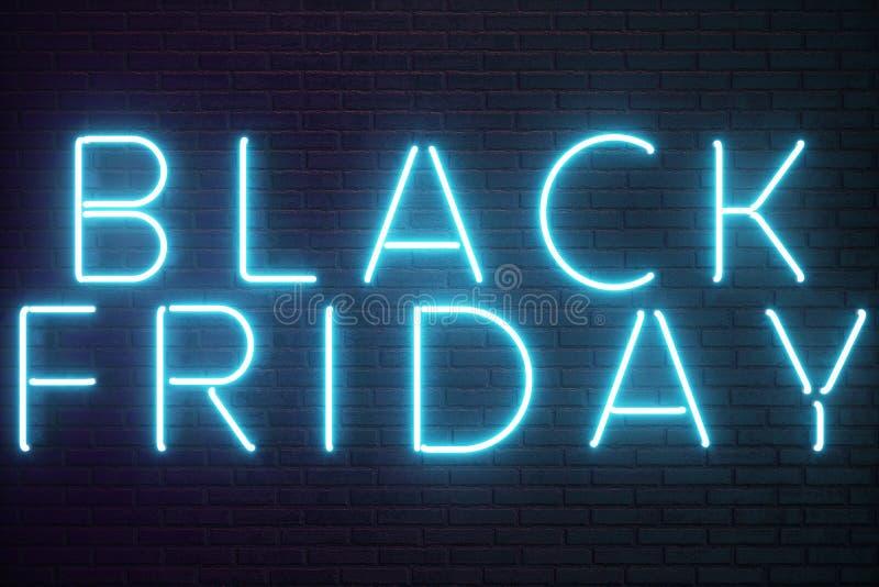 Black Friday - vendredi avec une grande vente Ventes, joie, succès Bannière au néon de lueur bleue, remises illustration 3D illustration stock