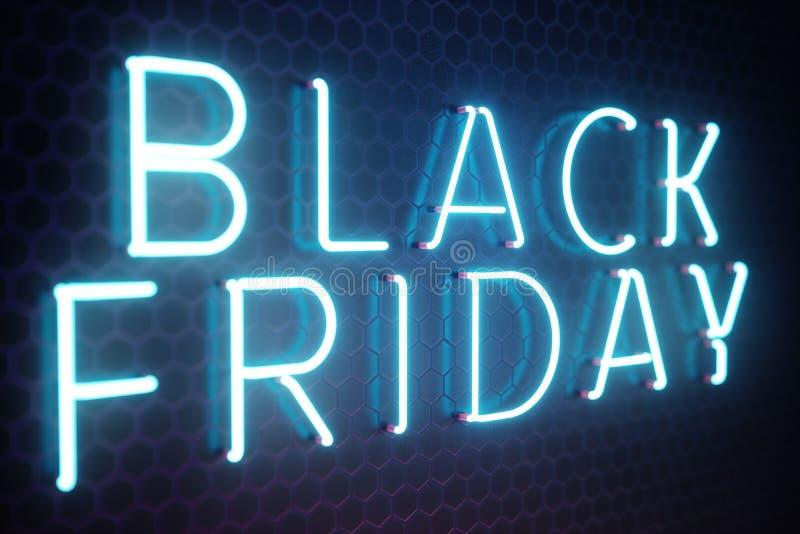 Black Friday - vendredi avec une grande vente Ventes, joie, succès Bannière au néon de lueur bleue, remises illustration 3D illustration de vecteur
