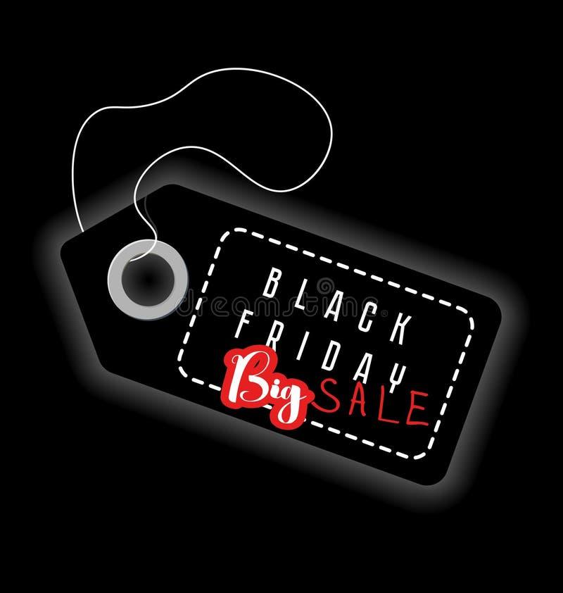 Black Friday, venta grande Ilustración del vector Ventas, descuento, publicidad, etiqueta del márketing stock de ilustración