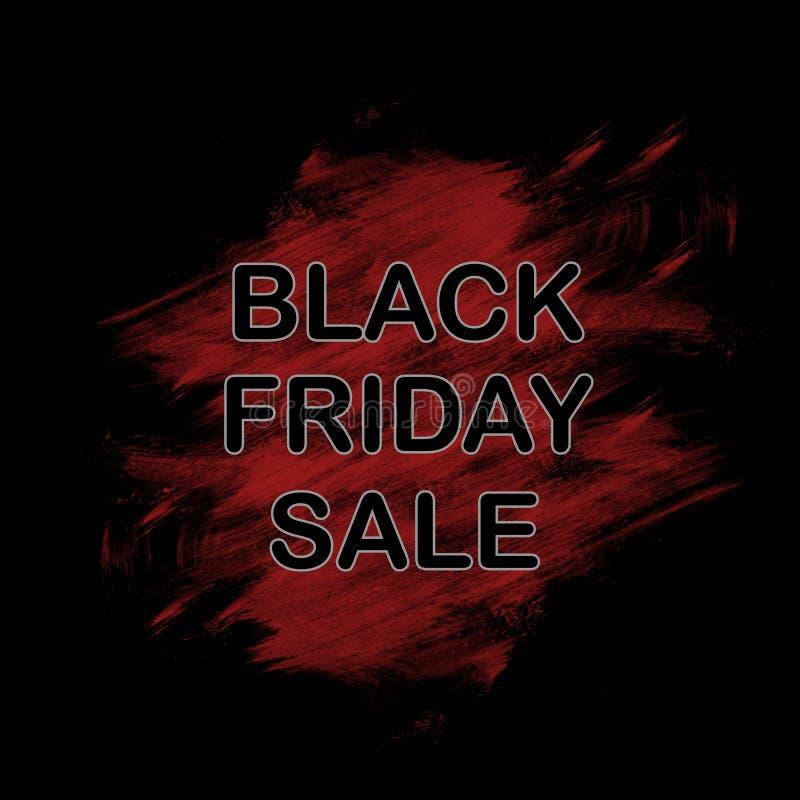 Black Friday, venta grande Texto del título Bandera, cartel, papel pintado Pintura de la tinta Movimiento del cepillo abstraiga e stock de ilustración
