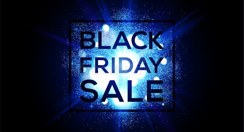Black Friday-Verkauf auf blauer greller Explosionsvektor-Fliegerschablone Horizontale Fahne des Websitetitels stock abbildung