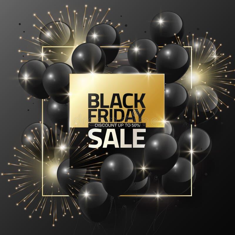 Black Friday-Verkauf auf schwarzen Ballonen und Feuerwerk für Designschablonenfahne, Vektorillustration vektor abbildung