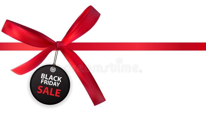 Black Friday-Verkaufs-Aufkleber mit Bogen und Band auf weißer Hintergrund-Vektor-Illustration vektor abbildung