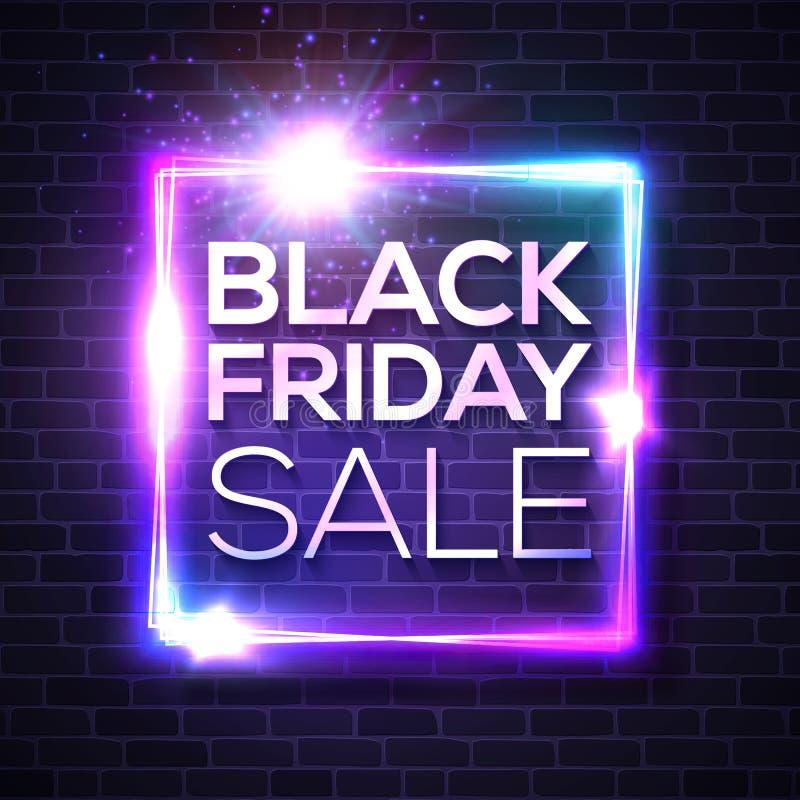 Black Friday-Verkaufs-Leuchtreklame Quadratisches Zeichen auf Ziegelstein vektor abbildung