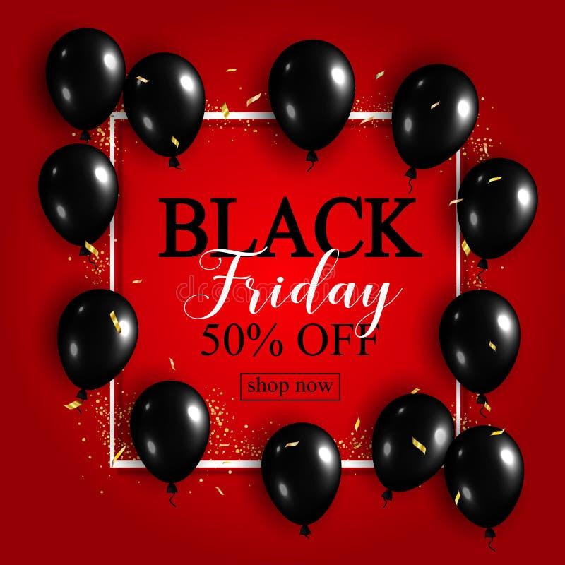 Black Friday-Verkaufs-Plakat mit glänzenden Ballonen auf rotem Hintergrund w vektor abbildung