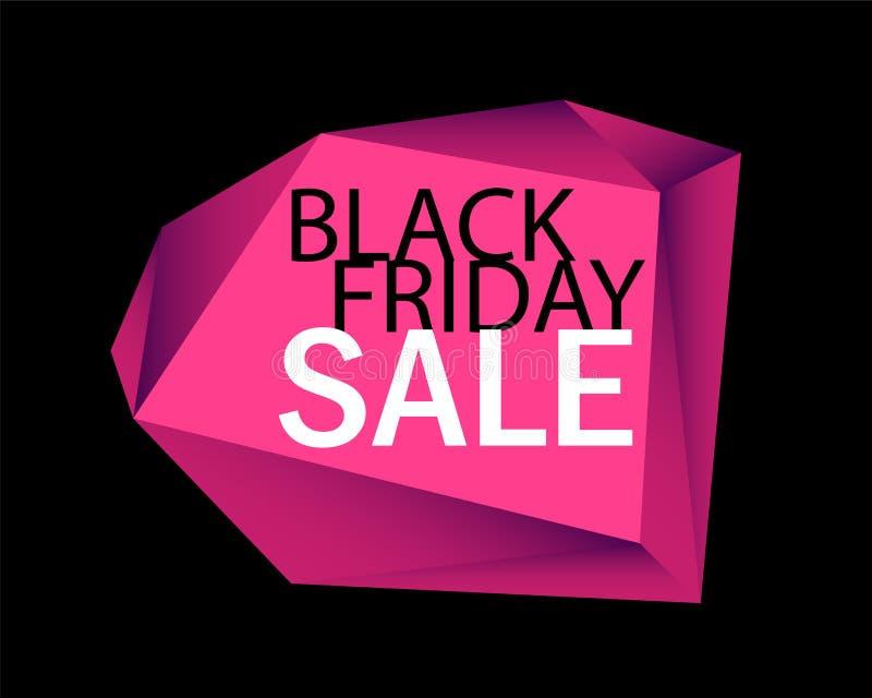 Black Friday-Verkaufsanzeigenhintergrund Schwarzer Hintergrund mit rosa Diamanten lizenzfreie abbildung