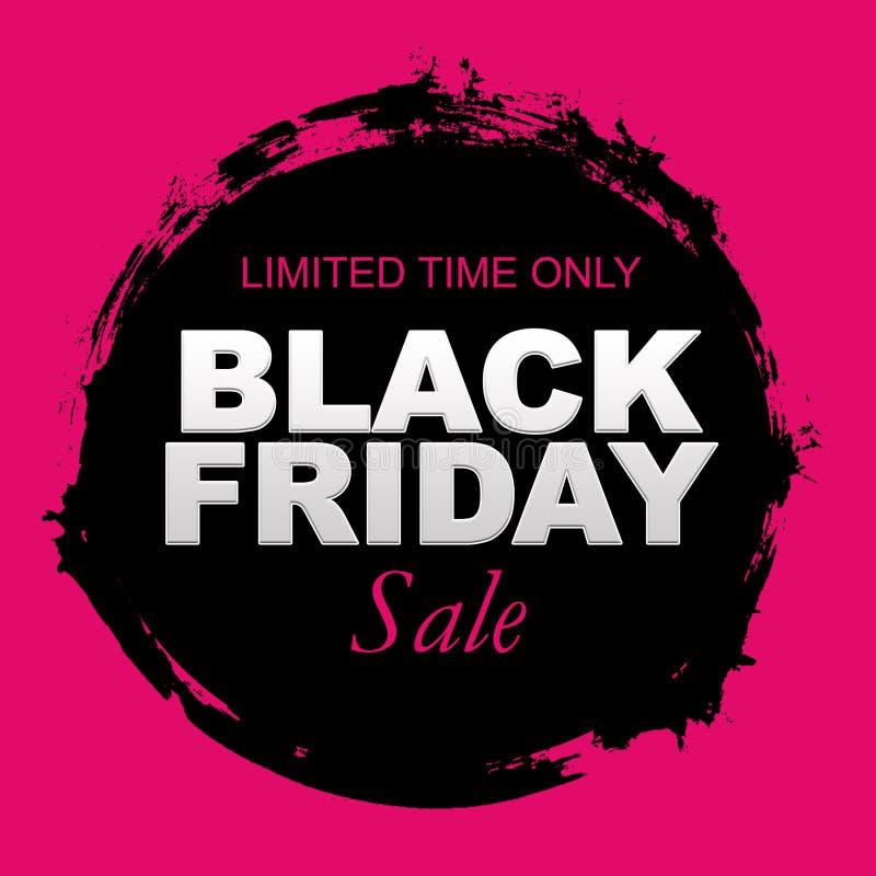 Black Friday-Verkaufsbeschriftung auf einem Schwarzen rundete Bürstenanschlag lizenzfreie abbildung