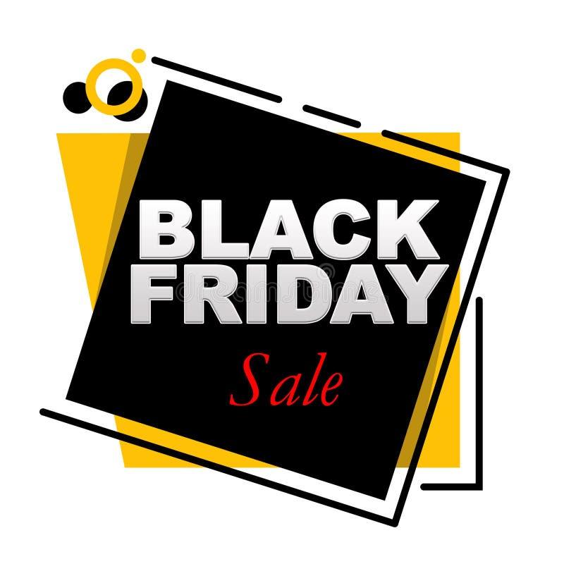Black Friday-Verkaufsbeschriftung auf umrissenen und festen Rahmen lizenzfreie abbildung