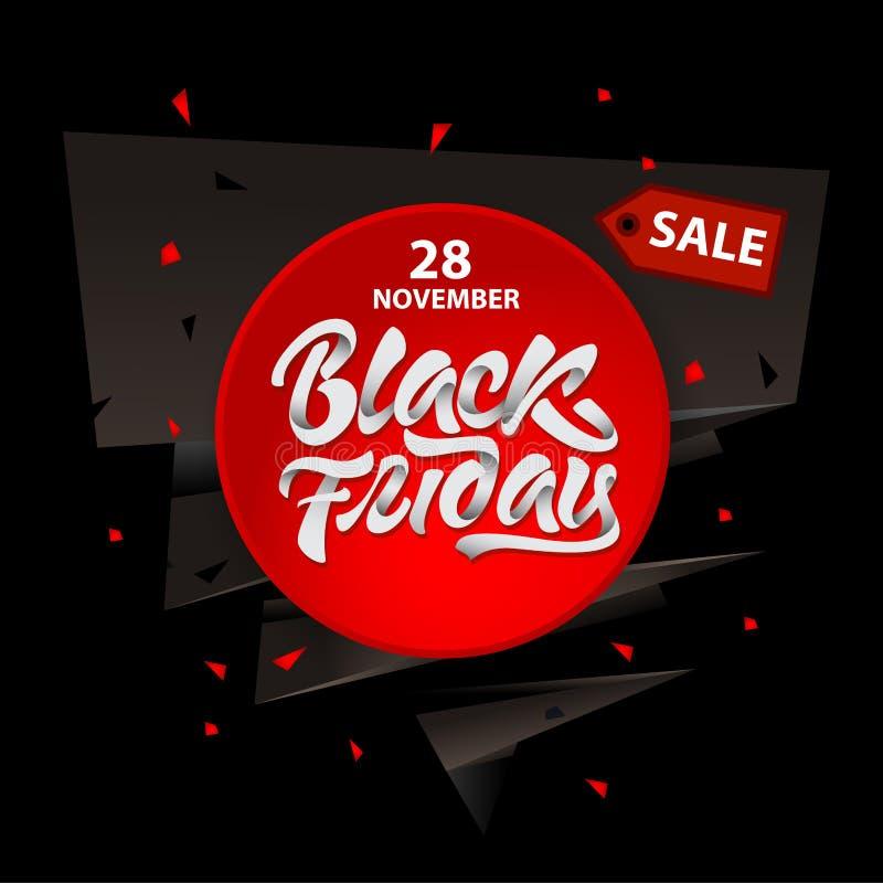 Black Friday-Verkaufsentwurf mit Beschriftung Schwarze Freitag-Fahne Auch im corel abgehobenen Betrag vektor abbildung