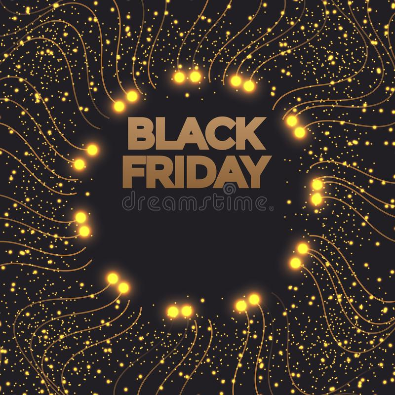 Black Friday-Verkaufsfahne Goldfunkelnder Kreisrahmen mit Text Vektorplakatillustration vektor abbildung