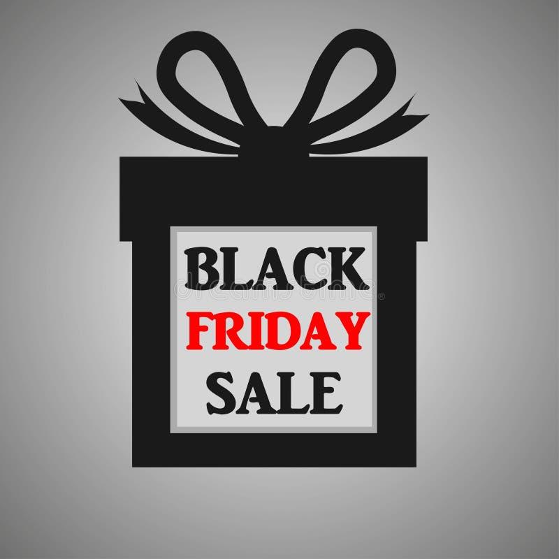 Black Friday-Verkaufsfahne mit rotem und schwarzem Text auf schwarzer Geschenkbox lizenzfreie abbildung
