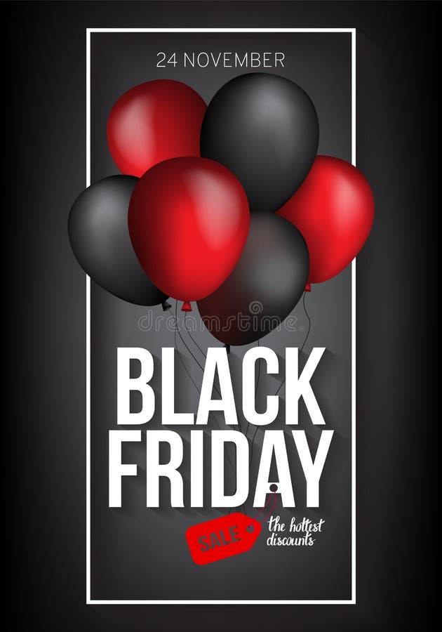 Black Friday-Verkaufsfahnenschablone für Netz, Druckdesignproduktion Schwarzer und roter Luftballon auf Kontrastschwarzem stockbild