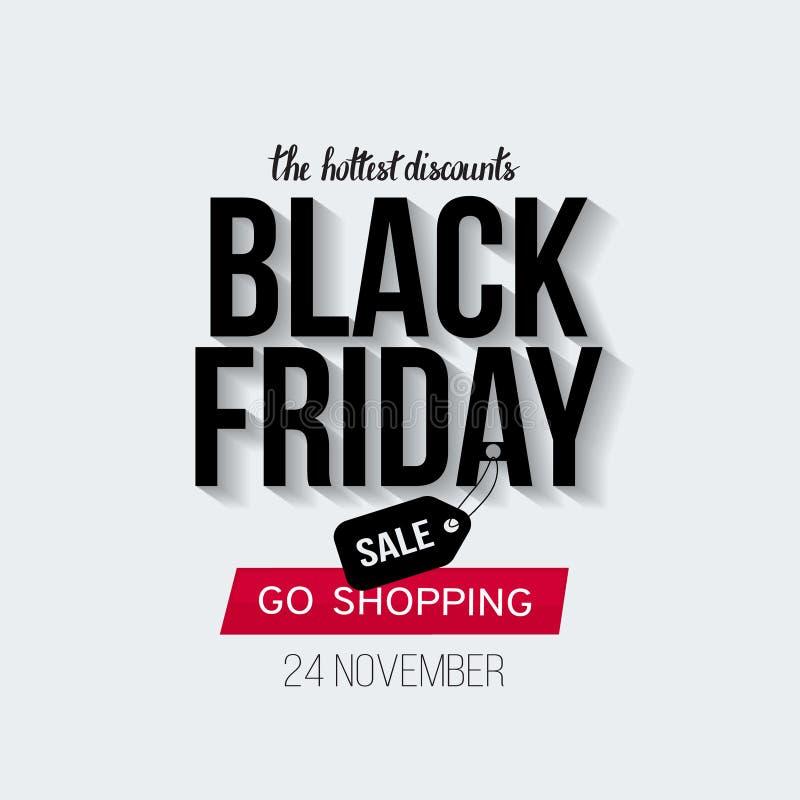 Black Friday-Verkaufsfahnenschablone für Netz, Druckdesignproduktion Schwarzer und roter Text auf Kontrastweißhintergrund lizenzfreie stockfotos