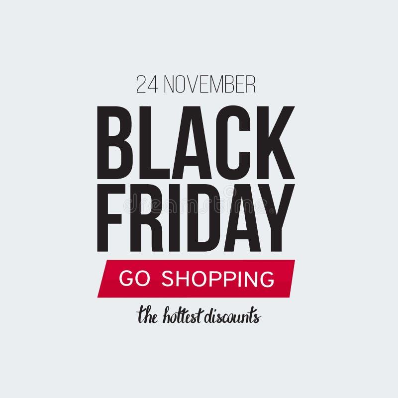 Black Friday-Verkaufsfahnenschablone für Netz, Druckdesignproduktion Schwarzer und roter Text auf Kontrastweißhintergrund lizenzfreies stockfoto