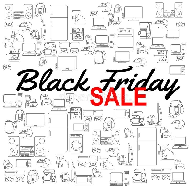 Black Friday-Verkaufshintergrund Rabattschablone Haushaltsgerät-Ikonen Verschiedene Elektronikvektorikonen vektor abbildung