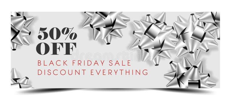 Black Friday-Verkaufsrabatt Promo-Angebotfahne oder kaufen ein 50-Prozent-Preis weg vom Reklamehandzettel und dem Kupon vektor abbildung