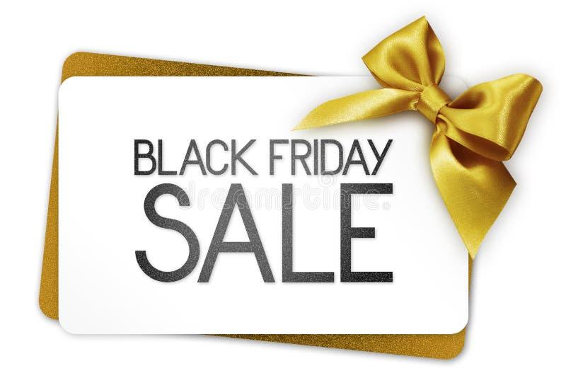 Black Friday-Verkaufstext schreiben auf weißen Gutschein mit goldenem ribb stockfotografie