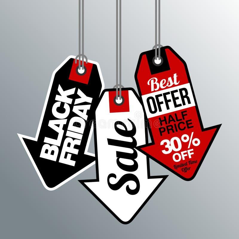 Black Friday-Verkoop, korting en bonmalplaatje stock illustratie