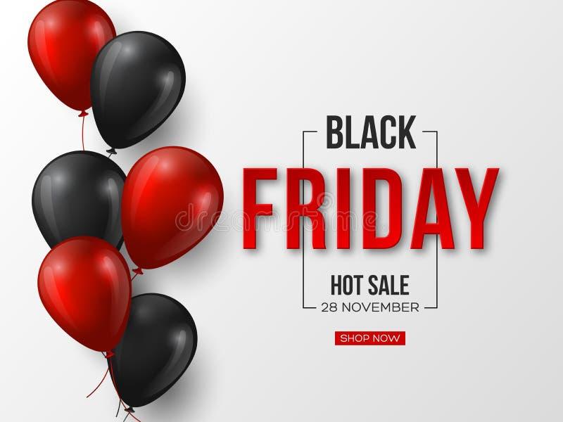 Black Friday-verkoop typografisch ontwerp 3d gestileerde rode kleurenbrieven met glanzende ballons Witte achtergrond, vector royalty-vrije illustratie