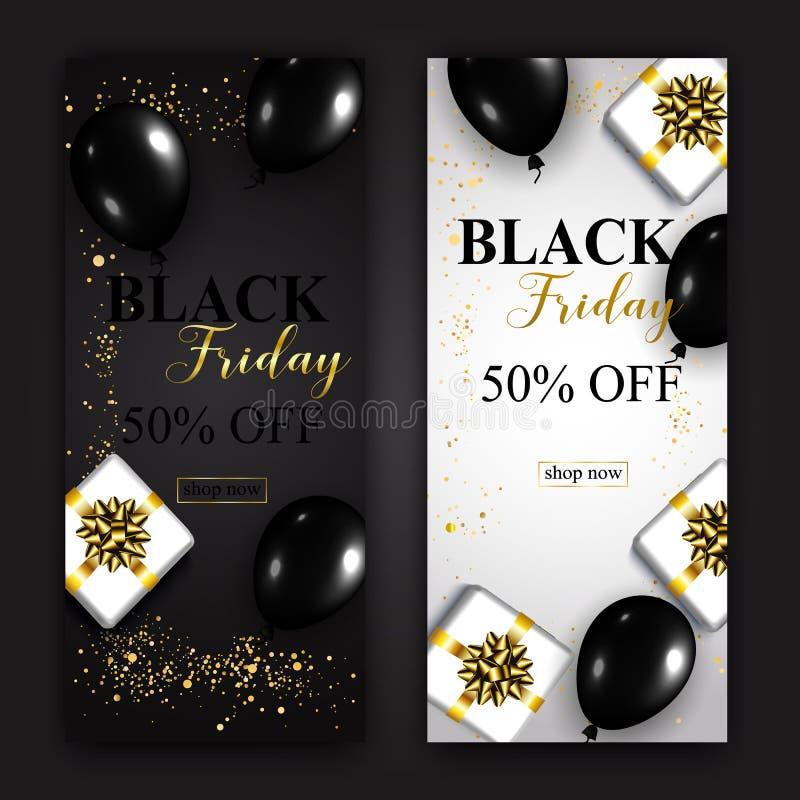 Black Friday-Verkoop Verticale Banners Glanzende ballons en giften B stock afbeelding