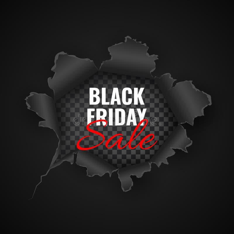 Black Friday-Verkoopachtergrond Gat in zwart document Vector illustratie vector illustratie