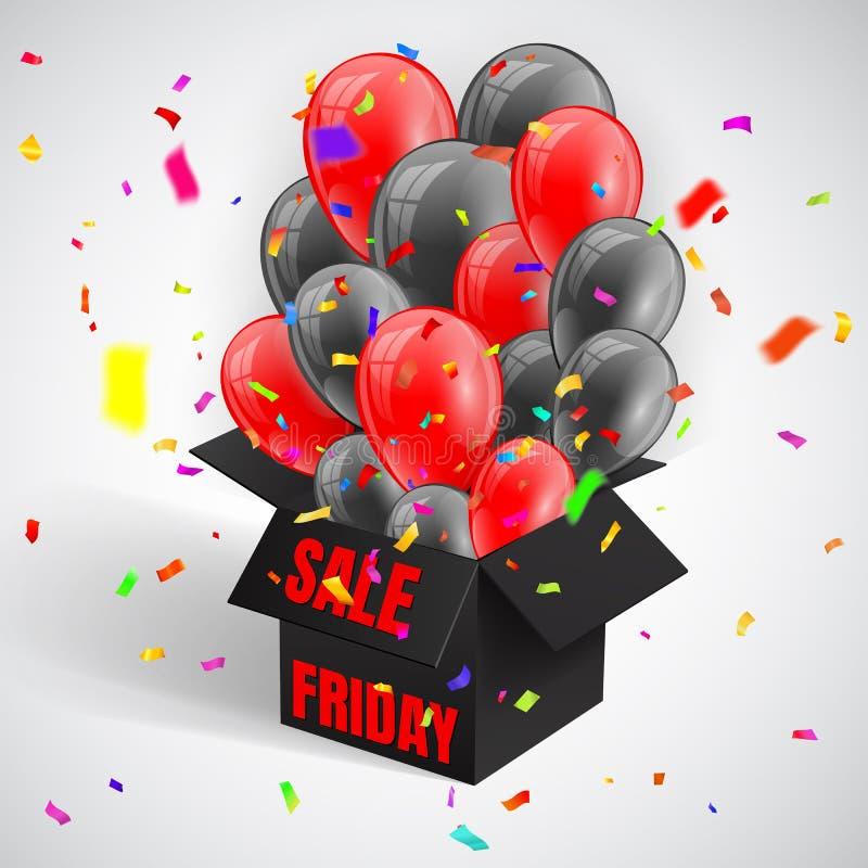Black Friday-Verkoopaffiche met confettien en Donkere Glanzende Ballonsbos die van open zwarte doos vliegen Vector illustratie vector illustratie