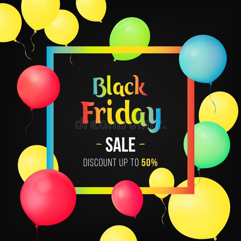 Black Friday-Verkoopaffiche met Glanzende Ballons op zwarte Achtergrond met Vierkant Kader Het malplaatjeontwerp van de verkoopba stock illustratie