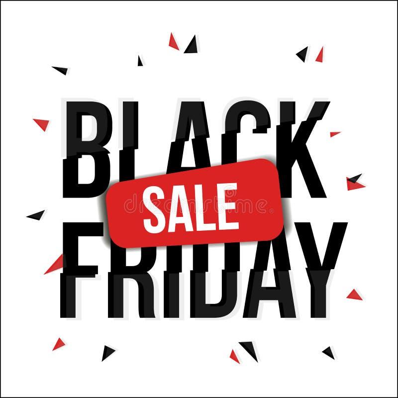 Black Friday-verkoopbanner met glitch, vervorming royalty-vrije illustratie