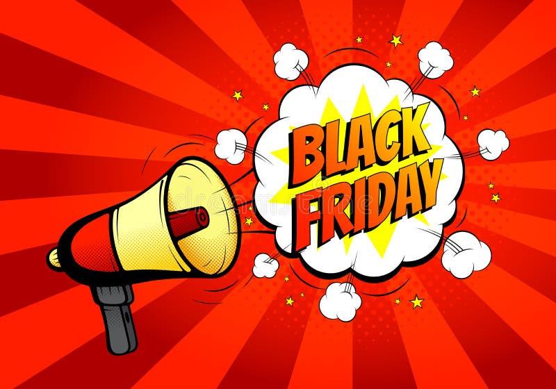 Black Friday-verkoopbanner met luidspreker vector illustratie