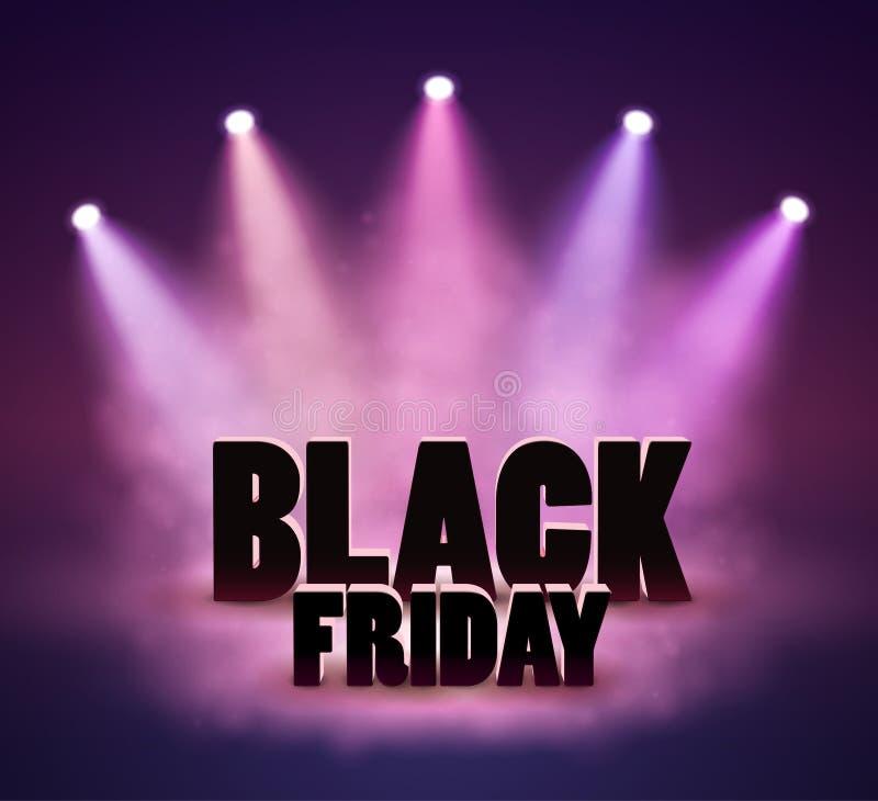 Black Friday-Verkoopbanner met Schijnwerper, Kortingsachtergrond royalty-vrije illustratie