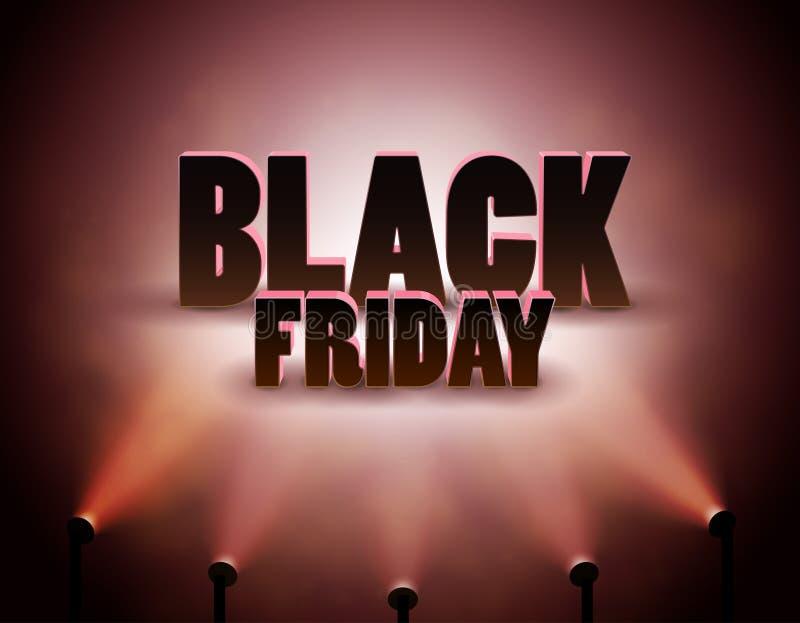 Black Friday-Verkoopbanner met Schijnwerper, Kortingsachtergrond stock illustratie