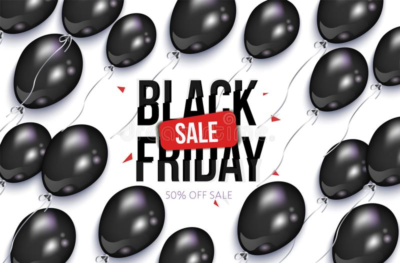 Black Friday-verkoopbanner, vlieger met ballons royalty-vrije illustratie