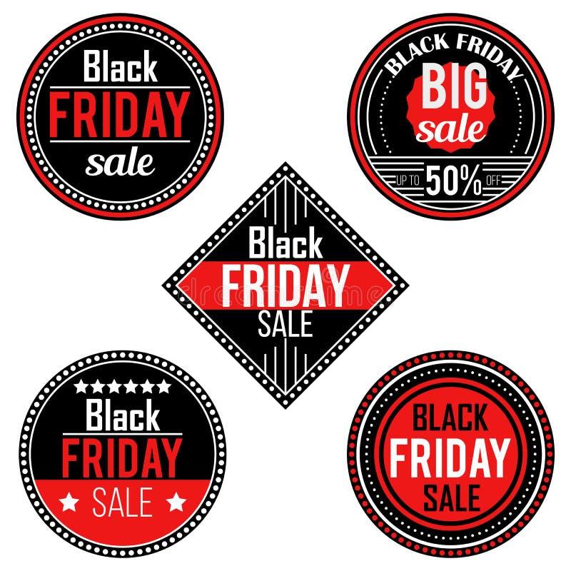 Black Friday-verkoopstickers en etiketten vector illustratie