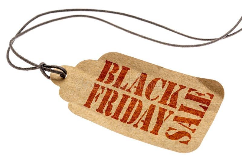 Black Friday-Verkoopteken op document prijskaartje royalty-vrije stock foto