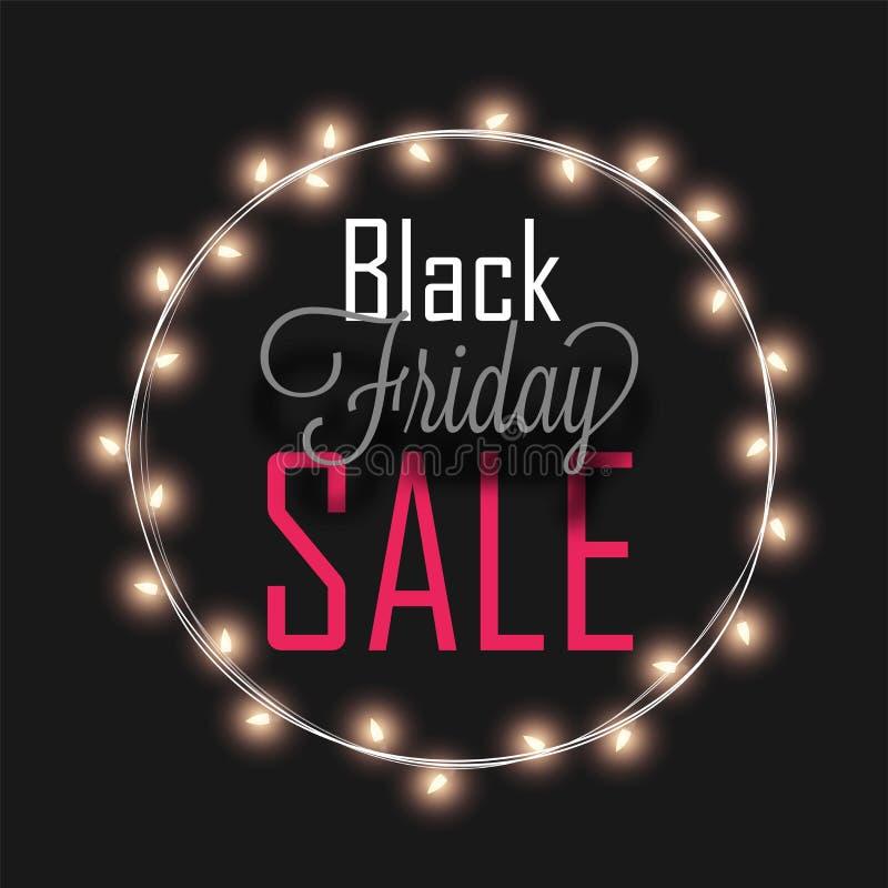 Black Friday-Verkooptekst in cirkelverlichtingskader op zwarte backg royalty-vrije illustratie