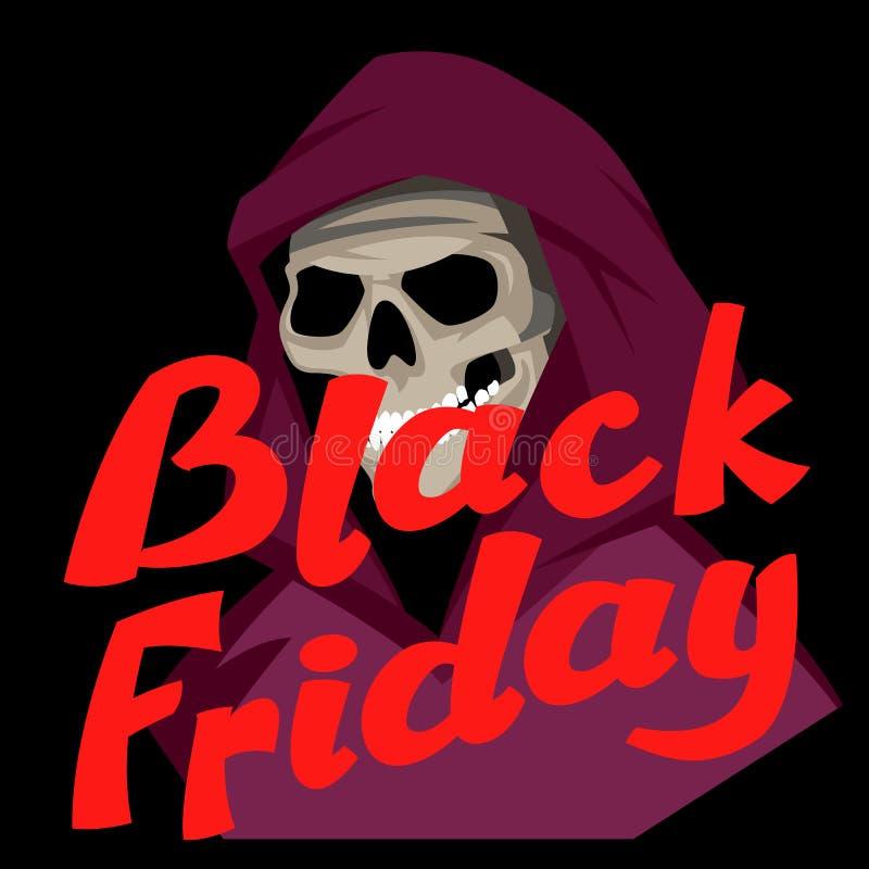 Black Friday-vlakke de markerings vectorillustratie van de verkoopschedel stock illustratie