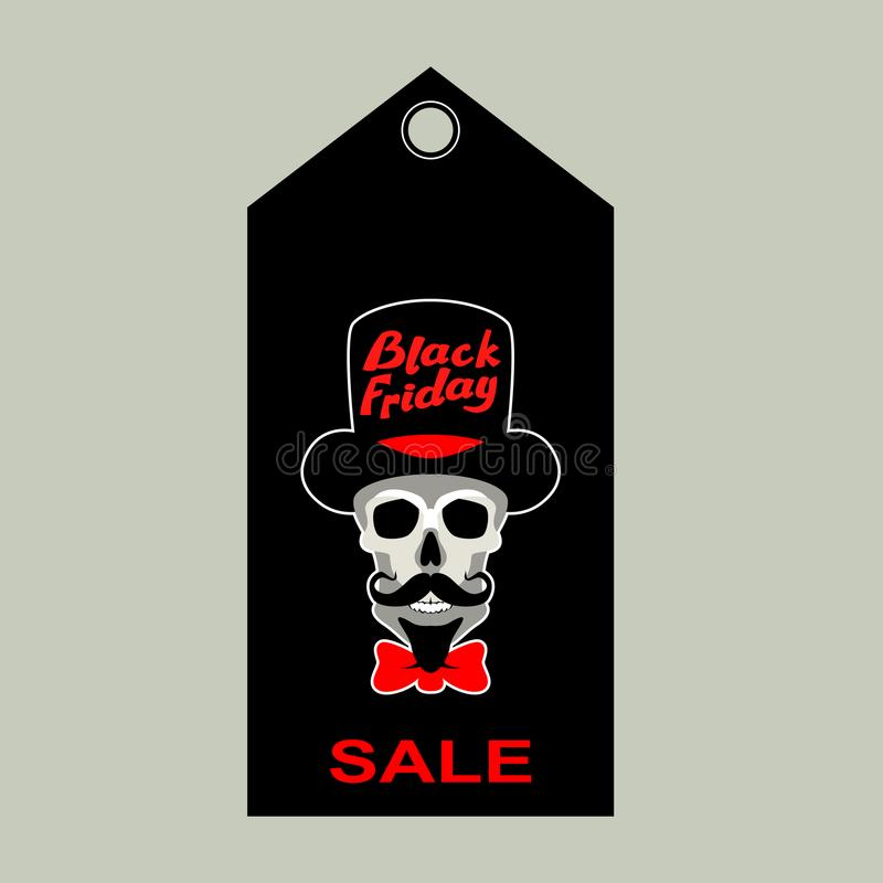 Black Friday-vlakke de markerings vectorillustratie van de verkoopschedel royalty-vrije illustratie