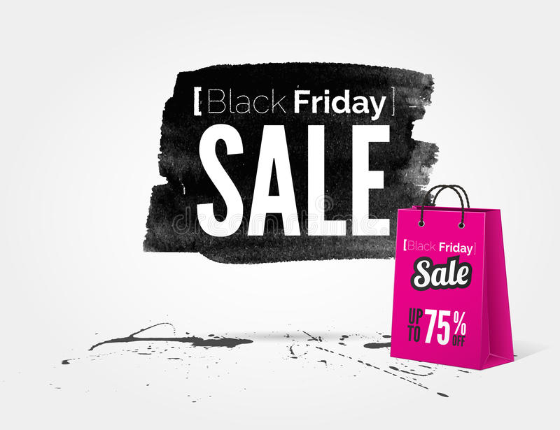 Black Friday watercolor banner with splashes stock illustration
