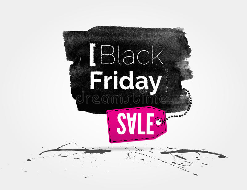 Black Friday watercolor banner with splashes. Vector Black Friday watercolor banner with splashes of ink and shoppping tag stock illustration